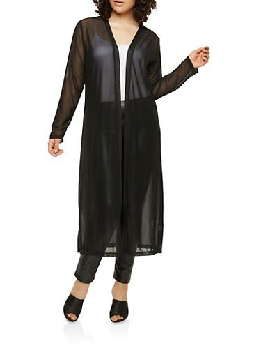 Plus Size Long Sleeve Mesh Duster,BLACK,large
