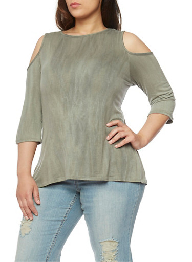 Plus Size Cold Shoulder Faded Wash Top,GREEN,large