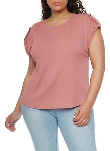 Plus Size Waffle Knit Tab Sleeve Top,BLUSH,large