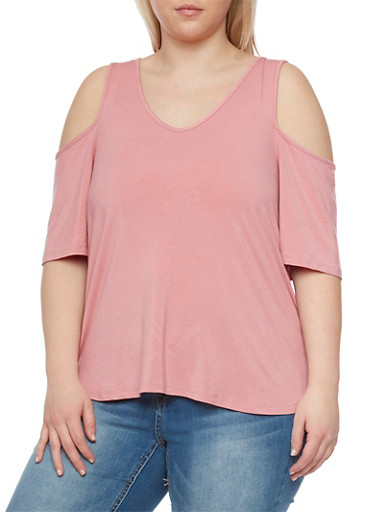 Plus Size High Low Cold Shoulder Top,MAUVE,large