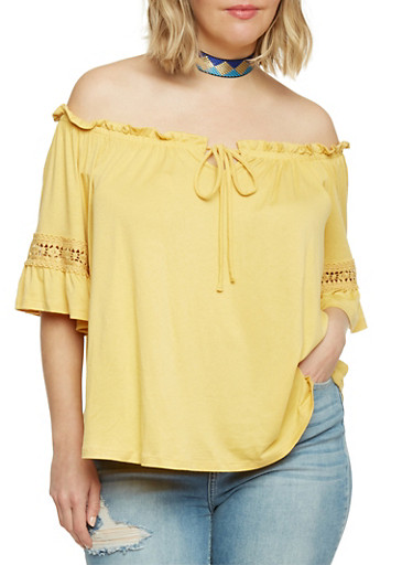 Plus Size Off the Shoulder Keyhole Top with Crochet Trim,MUSTARD,large