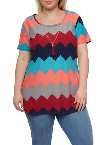 Plus Size Chevron Print Tee with High Low Hem and Necklace,AQUA NAVY,large