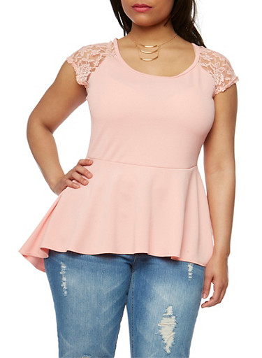 Plus Size Gauze Knit Peplum Top with Lace Cap Sleeve Detail,BLUSH,large