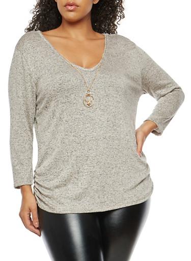 Plus Size Marled V Neck Top with Necklace,MOCHA-BLK,large