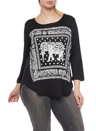 Plus Size Top with Elephant Graphic,BLACK,large