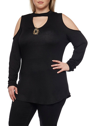 Plus Size Cold Shoulder Keyhole Cutout Top,BLACK,large