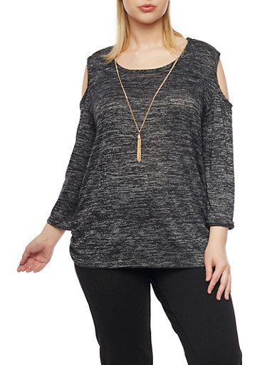 Plus Size Cold Shoulder Sweater with Necklace,BLACK,large
