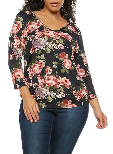 Plus Size Floral V Neck Top with Necklace,BLACK,large