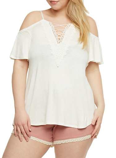 Plus Size Caged V Neck Cold Shoulder Top with Crochet Trim,IVORY,large