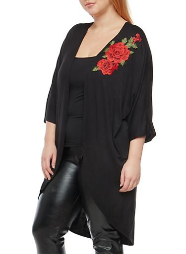 Plus Size Rose Applique Duster,BLACK,large
