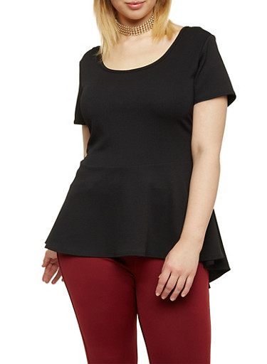 Plus Size Peplum Top with Choker Necklace,BLACK,large