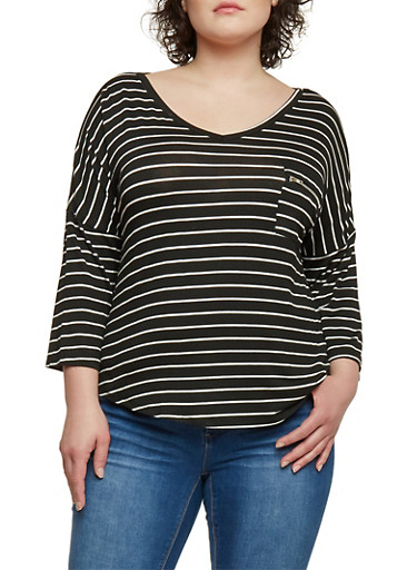 Plus Size 3/4 Sleeve Striped Top with Zip Pocket,BLACK/IVORY,large