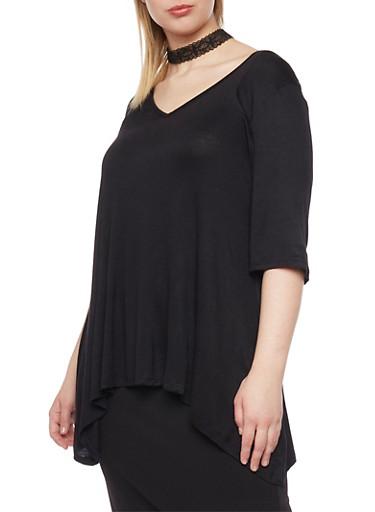 Plus Size 3/4 Sleeve Sharkbite Top,BLACK,large