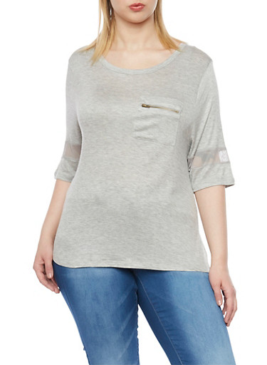 Plus Size 3/4 Sleeve Top with Mesh Trim,GRAY,large