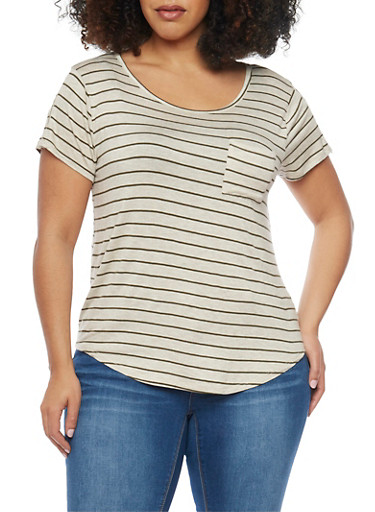 Plus Size Striped Shirttail Top with Zip Sleeves,OAT/OLIVE,large