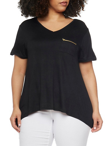 Plus Size Short Sleeve V Neck Sharkbite Top with Zip Pocket,BLACK,large