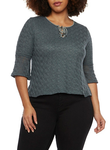 Plus Size Crochet Top with Lace Up Neckline,GRAY,large