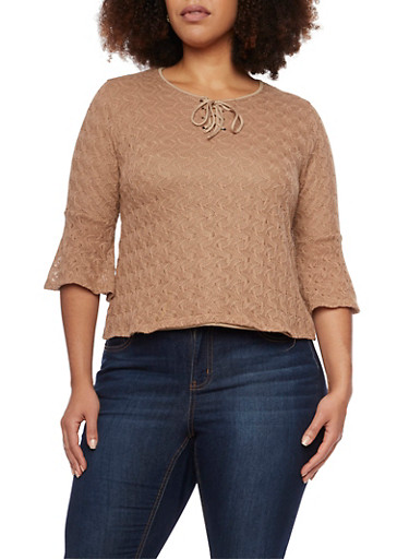 Plus Size Crochet Top with Lace Up Neckline,TAUPE,large