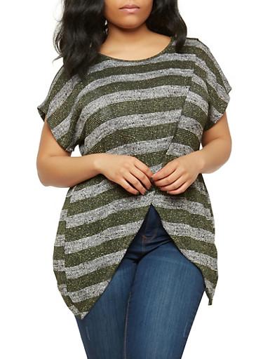 Plus Size Striped Asymmetrical Hem Top,GREEN,large