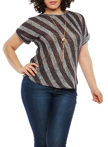 Plus Size Striped Glitter Knit Top with Necklace,PLUM-GOLD,large