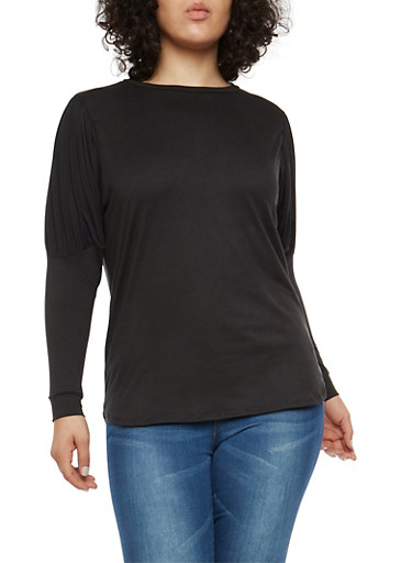 Plus Size Puff Sleeve Top,BLACK,large