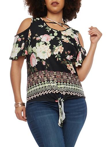 Plus Size Soft Knit Floral Cold Shoulder Top,BLACK-MAUVE,large