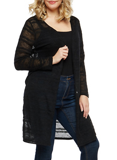 Plus Size Open Front Knit Duster,BLACK,large