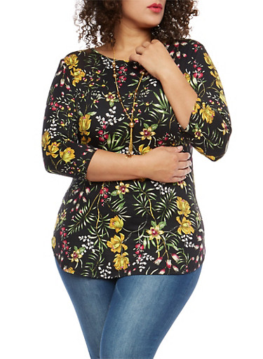 Plus Size Floral Tunic with Necklace,BLACK,large