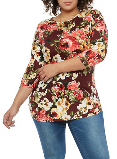 Plus Size Floral Tunic Top with Necklace,BURGUNDY,large