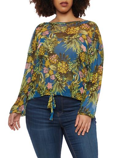 Plus Size Floral Mesh Drawstring Top,TEAL,large