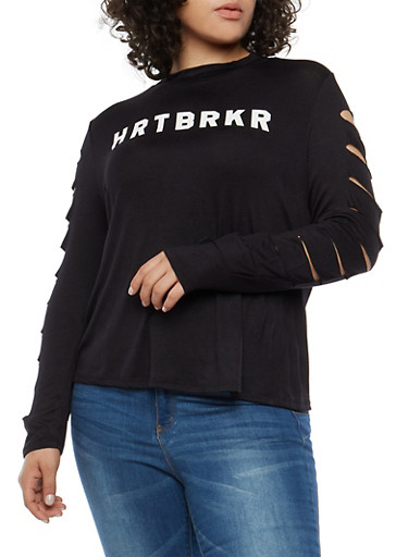 Plus Size Slashed Sleeve HRTBRKR Graphic Top,BLACK,large