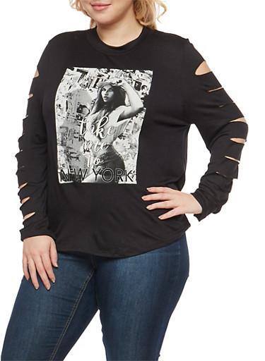 Plus Size Slashed Sleeve Graphic Top,BLACK,large