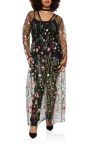 Plus Size Embroidered Mesh Maxi Top,BLACK,large