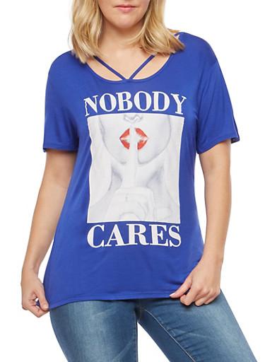 Plus Size Nobody Cares Graphic T Shirt,RYL BLUE,large