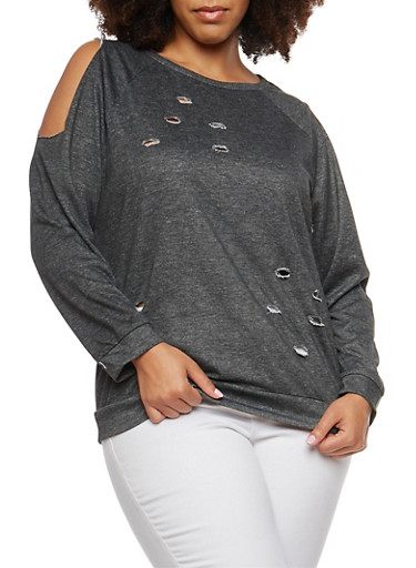 Plus Size Cold Shoulder Sweatshirt,BLACK,large