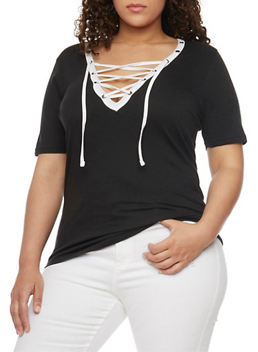 Plus Size Lace Up Top with Slashed Back,BLACK -WHITE,large