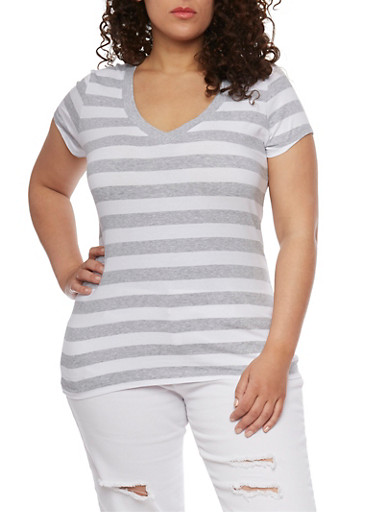 Plus Size Wide Striped V Neck T Shirt,HEATHER GREY-WHITE,large