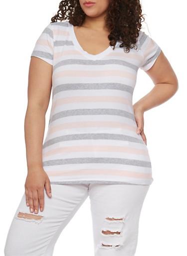 Plus Size Striped Short Sleeve V Neck T Shirt,WHITE-BLUSH-H-GREY,large