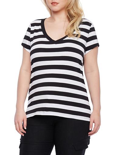 Plus Size Striped V-Neck T-Shirt,BLACK/WHITE,large
