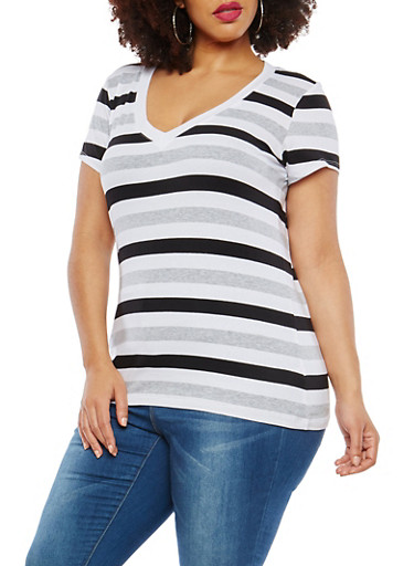 Plus Size Striped T Shirt,WHITE-BLK-HEATHER GREY,large