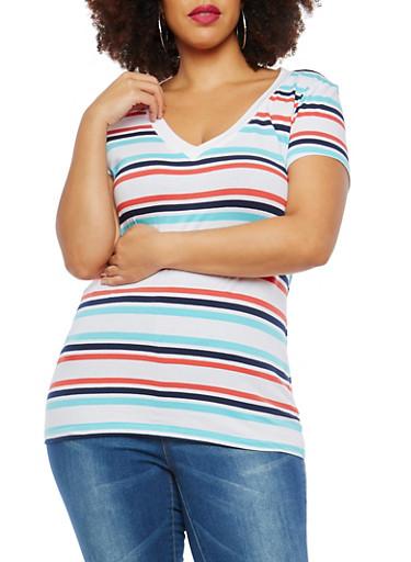 Plus Size Striped T Shirt,WHITE NW AQUA ECLIPSE,large