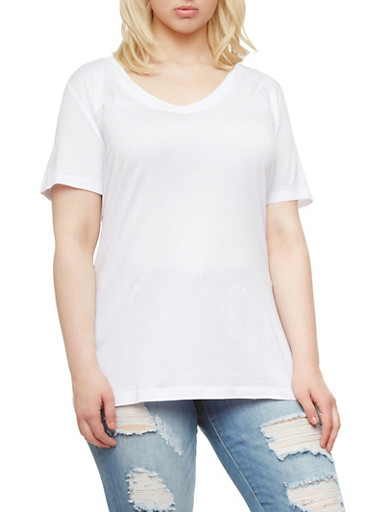 Plus Size V Neck Top with Short Sleeves,WHITE,large