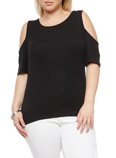 Plus Size Basic Cold Shoulder Top,BLACK,large
