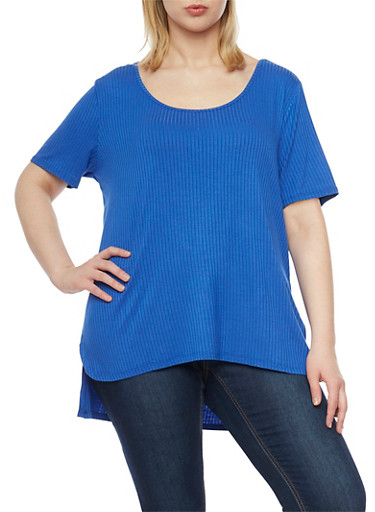 Plus Size Ribbed Top with High Low Hem and Side Slits,ROYAL,large