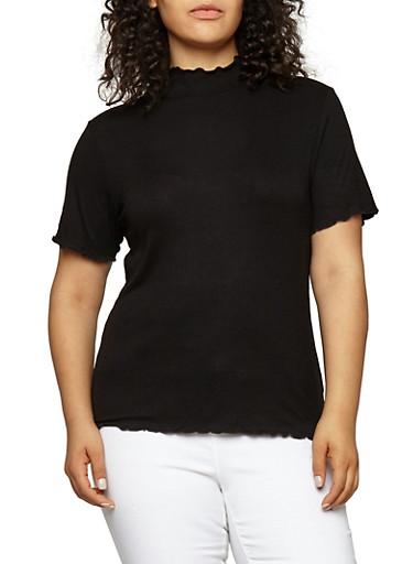 Plus Size Basic Mock Neck Top,BLACK,large