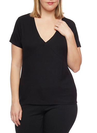 Plus Size Ribbed V Neck Tee,BLACK,large