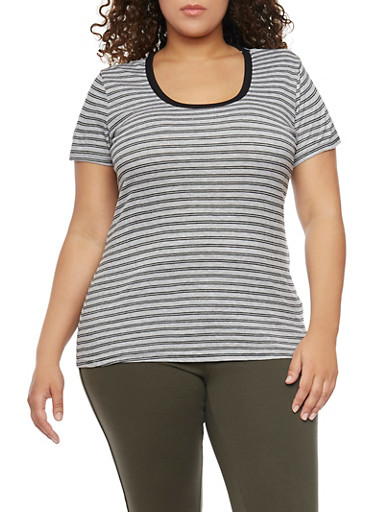 Plus Size Striped Rib Knit Tee,HEATHER GREY- BLK,large