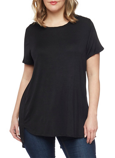 Plus Size Twisted Open Back High Low T Shirt,BLACK,large