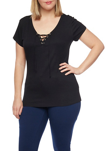 Plus Size Ribbed Lace Up V Neck Top with Short Sleeves,BLACK,large