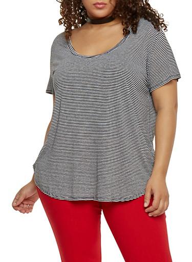 Plus Size Striped Scoop Neck Tee,BLACK/WHITE,large